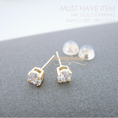 ▒14K GOLD▒ Mini Cubic Zirconia Earrings