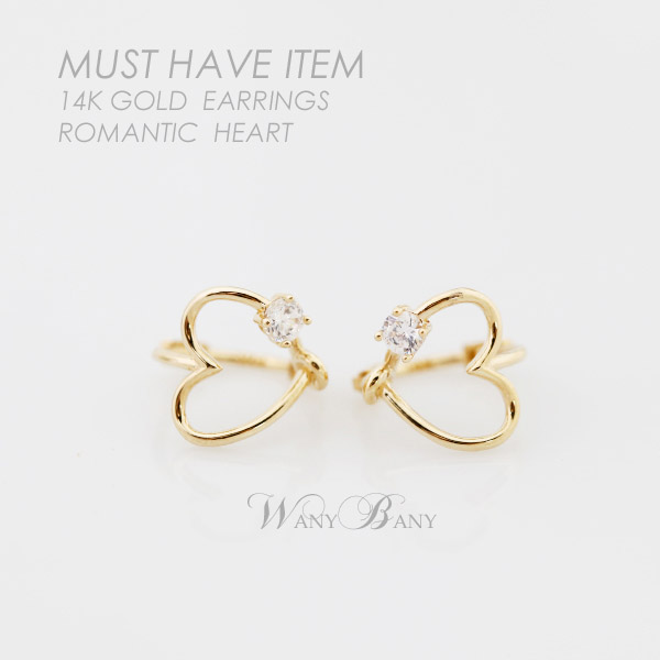 ▒14K GOLD▒ Romantic Heart Earrings[원터치]