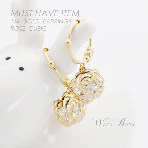 ▒14K GOLD▒ Rose Cubic Earrings[원터치]