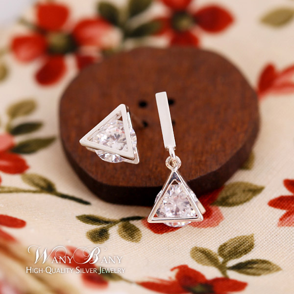 Silver Unbalance Triangle Earrings