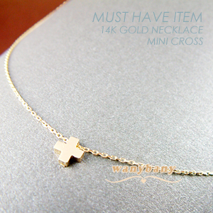 ▒14K GOLD▒ Mini Cross Necklace