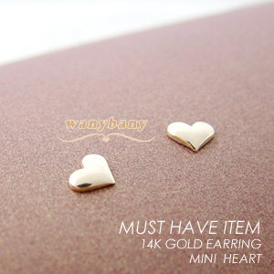 ▒14K GOLD▒ Mini Heart Earrings