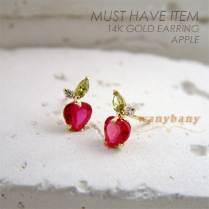 ▒14K GOLD▒ Apple Earring