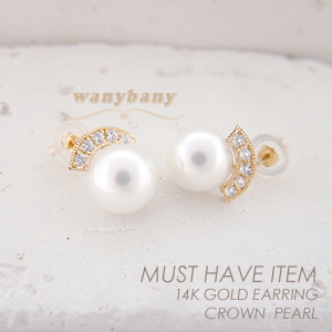 ▒14K GOLD▒ Crown Pearl Earring