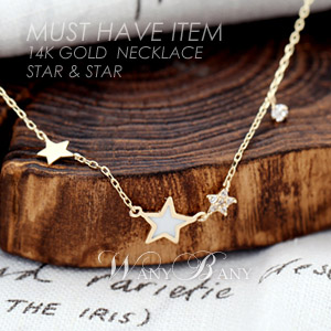 ▒14K GOLD▒ Star & Star Necklace