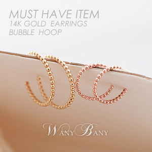 ▒14K GOLD▒ Bubble Hoop Earrings