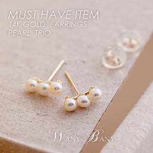 ▒14K GOLD▒ Pearl Trio Earrings