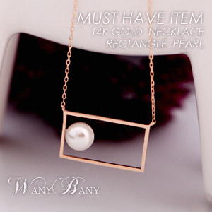 ▒14K GOLD▒ Rectangle Pearl Necklace