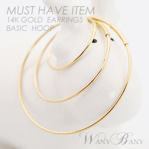 ▒14K GOLD▒ Basic Hoop Earrings