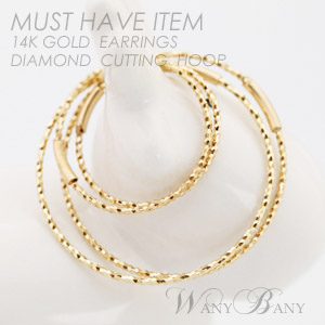 ▒14K GOLD▒ Diamond Cutting Hoop Earrings