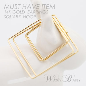 ▒14K GOLD▒ Square Hoop Earrings