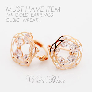 ▒14K GOLD▒ Wreath Cubic Earrings