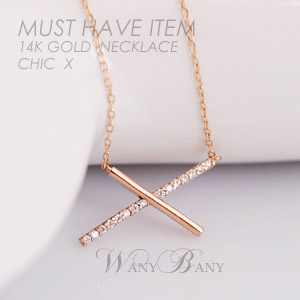 ▒14K GOLD▒ Chic X Necklace