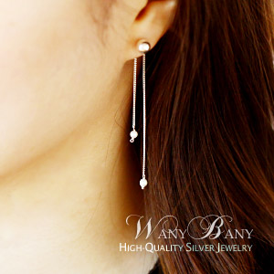 Silver 2-style Pearl Chain Earrings