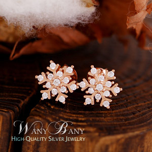 Silver Snow Crystal Earrings
