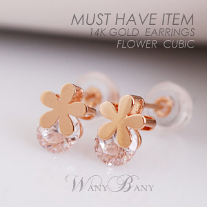 ▒14K GOLD▒ Flower Cubic Earrings