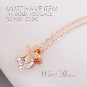 ▒14K GOLD▒ Flower Cubic Necklace