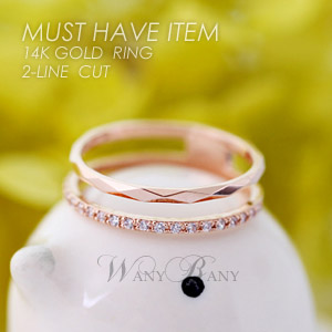 ▒14K GOLD▒ 2-Line Cut Ring